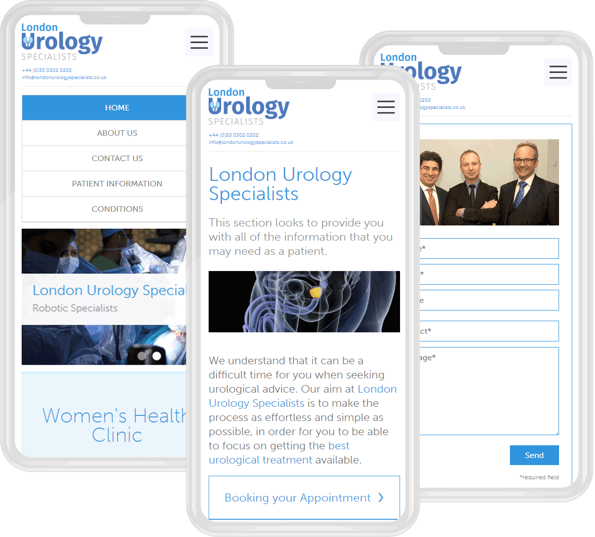 London Urology Specialists website images mobile visual